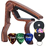 Guitar Picks Guitar Capo Acoustic Guitar Accessories Capo Key Clamp With Free 6 Pcs Guitar Picks and Black Leather Guitar Picks Holder (Wood Color)