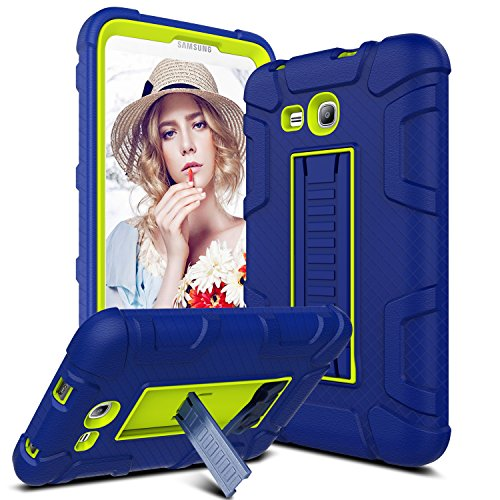 Samsung Galaxy Tab Lite E 7.0 Case, Galaxy Tab 3 Lite 7.0 Case, Venoro [Kickstand Feature] Shockproof Heavy Duty Armor Defender Protective Case Cover for SM-T110 / T111 / T113 (Navy Blue/Lemon Yellow) (Samsung Galaxy Tab 3 Lite T110 Review)