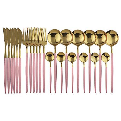 JANKNG 24-Piece Flatware Set, 18/0 Stainless Steel Knife Fork Spoon Teaspoon Silverware Set, Service for 6, Pink Handle Gold