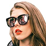 Mirrored Sunglasses for Women, Oversized Wayfarer Frame with UV400 Protection, Polarized Eyewear for Driving/Fishing/shopping(Black Frame/Rose Gold Mirrored Lenses)