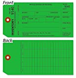 Green Inventory Count Tag, Printed 13pt Cardstock Tag with Stub, 500 Tags / Pack, 3.125'' x 6.25''