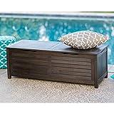 Home Improvements Dark Brown Finish Wood 50 Gallon Deck Storage Box Outdoor Patio Storage Bench Seat Pool Storage