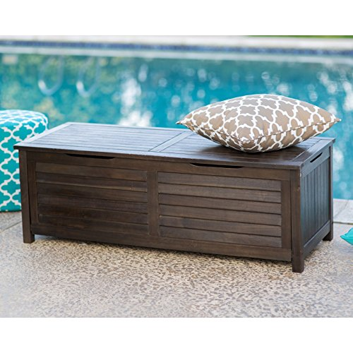 Dark Brown Finish Wood Deck Box Storage for Pool Patio Outdoor Bench Seat 51L x 19.6W x 17.70H in.