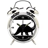 Children's Room Silver Dinosaur Silent Alarm Clock Twin Bell Mute Alarm Clock Quartz Analog Retro Bedside and Desk Clock with Nightlight-204.30_Animal, Dinosaur, Fossil, Paleontology, Silhouette