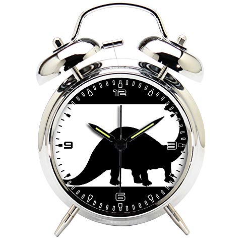 Children's Room Silver Dinosaur Silent Alarm Clock Twin Bell Mute Alarm Clock Quartz Analog Retro Bedside and Desk Clock with Nightlight-204.30_Animal, Dinosaur, Fossil, Paleontology, Silhouette by girlsight
