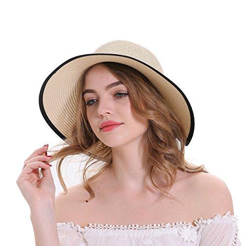 b1fcd37c89adcd MEEFUR Women's Straw Sun Hat Outdoor Beach Cap Bowknot Bucket Anti-UV  Packable Hats Khaki at Amazon Women's Clothing store: