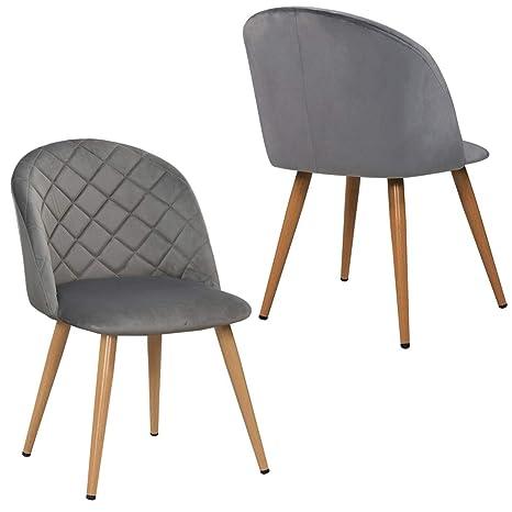 44e59b56838497 Duhome 2er Set Esszimmerstuhl aus Stoff SAMT Grau Stuhl Retro Design  Polsterstuhl mit Rückenlehne Metallbeine Farbauswahl