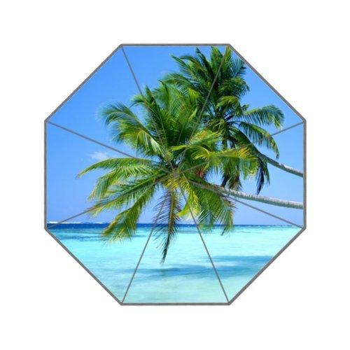 Tropical Hawaii Beach Palm Tree Summer Sunshine Travel Umbrella Compact Umbrella Foldable 8 ribs Rain Umbrella for Easy - Maui Factory Outlets