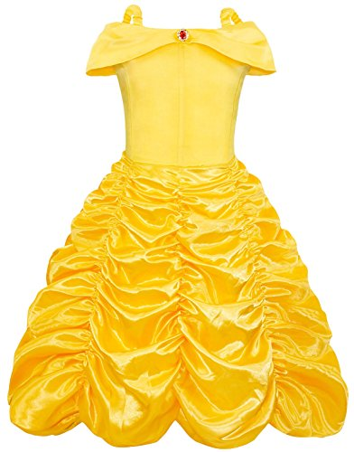 AmzBarley Princess Dress up for Girls Belle Halloween Costume Birthday Theme Party Long Off Shoulder Layered Dresses Costumes Size 7-8 Years