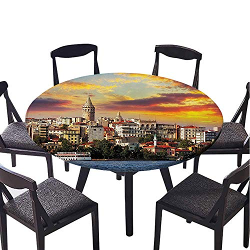 SATVSHOP Tablecloth-40 Round-Round tablecloths,European Cityscape Istanbul at Sunset with The Sea Capital of Byzantine Old Oman Ancient Tower .(Elastic Edge)