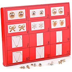 DIY advent 12days Mouttop Christams Jewelley Gift Set,12 Day Calendar Christmas Fashion Jewellery, Silver