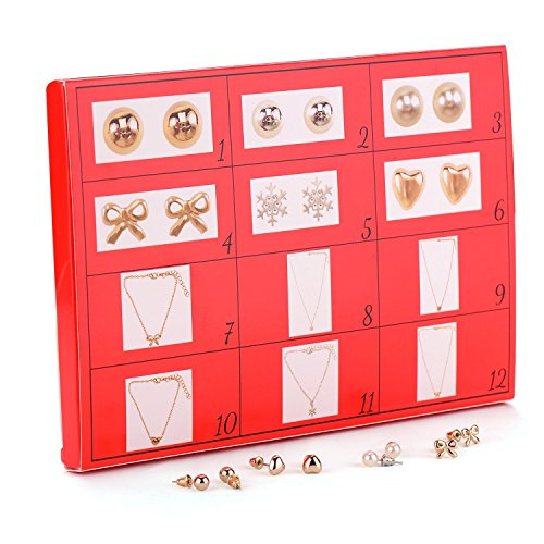 DIY advent 12days Mouttop Christams Jewelley Gift Set,12 Day Advent Calendar Christmas Fashion Jewellery, Silver