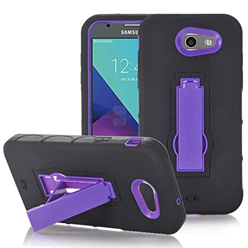 Galaxy J7 Sky Pro Case, Galaxy J7 V 2017 Case,ARSUE [Drop Protection] [Shock Absorption] Hybrid Dual Layer Armor Defender Protective Case Cover with Kickstand for Samsung Galaxy J7 V 2017 - Purple