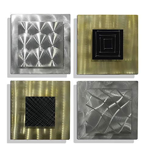 Statements2000 Silver, Black & Gold Modern Abstract Metal Wall Art Decor - Home Accent Wall Hanging - Altered Reality by Jon Allen - 4 Piece Set - 12