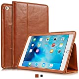 KAVAJ iPad Mini 4 Leather case Cover Berlin Cognac Brown - Genuine Leather with Stand-up Feature. Thin Smart Cover as Premium Accessory for The Original Apple iPad Mini 4