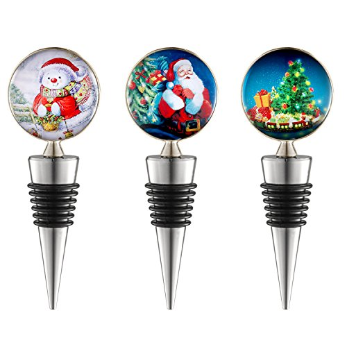 Sunbright Christmas Wine Bottle Stoppers for Party favors, Santa, Snowman, Christmas Tree Decoration, Christmas Gifts, Pass FDA testing,Set of - Wine Tree Stopper