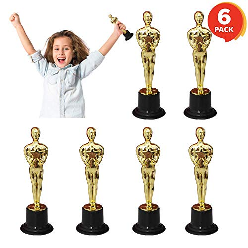FashionSun Trophy for Kids, Mini Oscar Statue | Academy Awards Trophies | Gold Movie Night or Hollywood Party Decorations | Birthday Party Favors, Appreciation Gifts (Gold) -