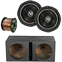 2X Audiopipe 15 Triple Stack Subwoofer, Q Power QBOMB15V Dual 15-Inch Vented Speaker Box, Enrock Audio 16-Gauge 50 Foot Speaker Wire