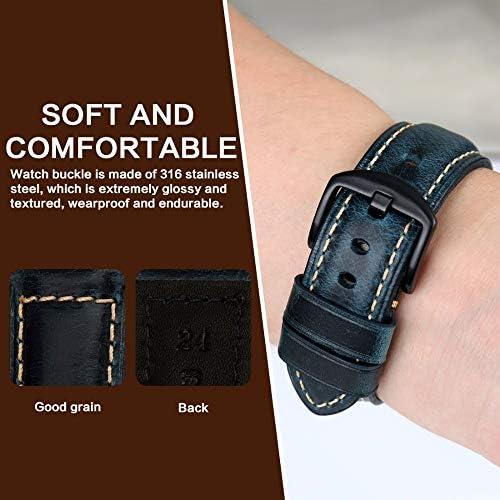 Amy Cinturino per orologio da polso in pelle cerata, stile retrò, 20 mm, 22 mm, 24 mm, 26 mm (colore cinturino: marrone scuro, S, larghezza cinturino: 18 mm)