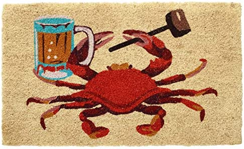 HF by LT Beer Stein Crab 100 Coir Doormat, 18 x 30 inches, Naturally Durable, PVC-Backing, Sustainable