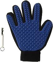 IBO Guante Cepillado Aseo de Mascota Cepillo para Perros Gatos Caballos Pet Grooming Glove True Touch Deshedding Glove Pelo largo y Corto, Masaje Suave y Estetico, Bono Silbato para Perros, Azul