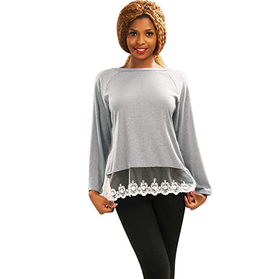 MEIbax Mujeres de Manga Larga con Cuello en O Camiseta Casual Blusa de algodón con Camisetas