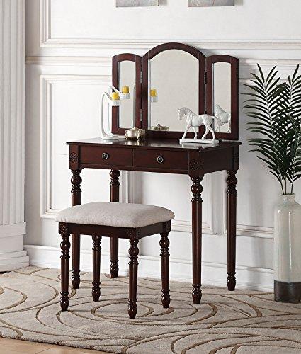 poundex f4158 bobkona tania trifold mirror vanity set with stool espresso