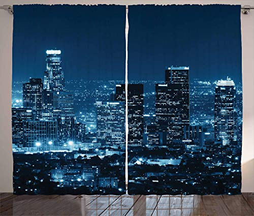 (Ambesonne USA Curtains, Los Angeles City Buildings at Night Monochromic Photo Scenery Town Dusk Scenic View, Living Room Bedroom Window Drapes 2 Panel Set, 108 X 90 Inches, Night)
