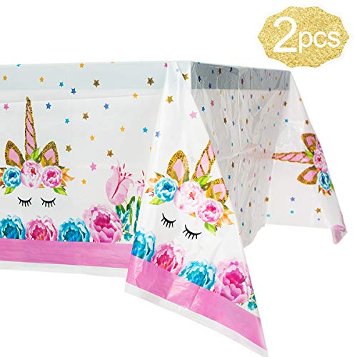 Unicorn Plastic Tablecloth,2 Pack Unicorn Disposable Table Cover for Unicorn Birthday Party Decoration,Unicorn Magic Birthday Party Supplies for Girls or Baby Shower,70 X 42Unicorn Rectangle Tablecl