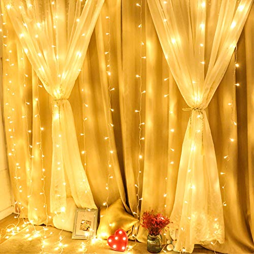 304 LED Window Curtain String Light, 9.8ft x 9.8ft, 8 Modes Setting for Wedding Christmas Girls Bedroom Outdoor Indoor Wall Decoration Party Home Garden (Warm White) ()