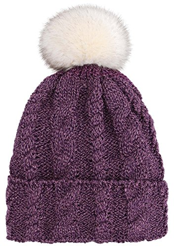 Arctic Paw Braided Heather Cable Knit Beanie Hat With Faux Fur Pompom, Purple