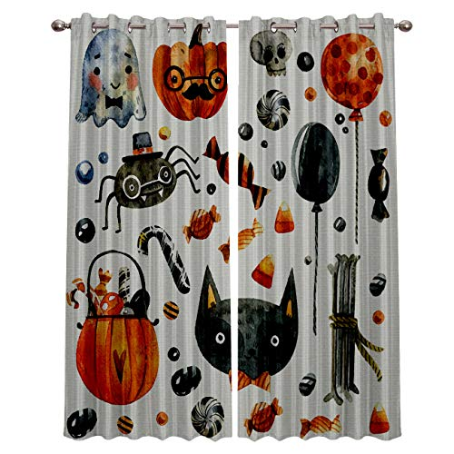 Blackout Grommet Curtains for Living Room Halloween Cat Pumpkin Candy and Ghost Home Decor Treatment Thermal Darkening Drapes Window Curtains for Bedroom (2 Panels, 52 x 72 Inch Each Panel)