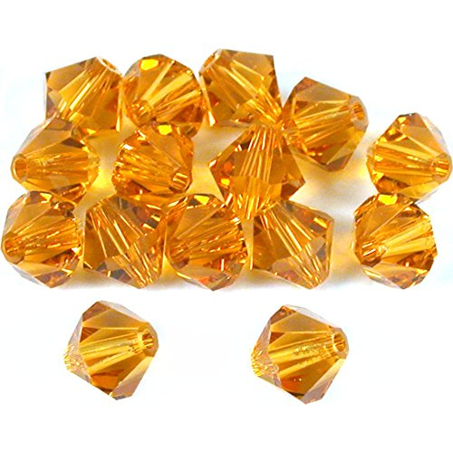 15 Topaz Bicone Swarovski Crystal Beads Parts 5301 6mm