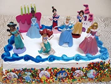 Disney Princess 21 Piece Birthday Cake Topper Set Featuring And Frog Tiana Jasmine From