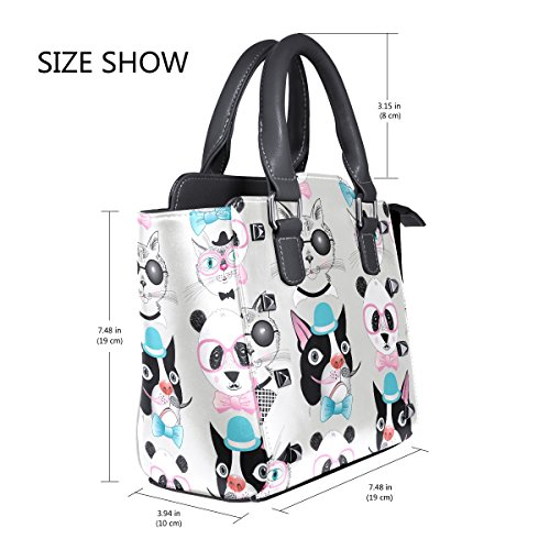 Women's Portraits Panda Handbags Leather Cat Shoulder Dog TIZORAX Hipster Bags Retro Tote qUwx1FTqX0