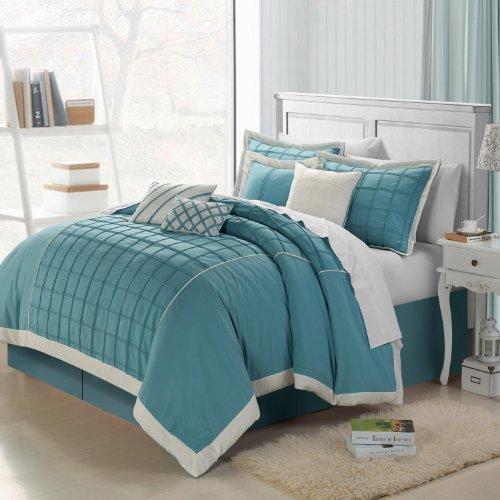 Chic Home Rhodes 12-Piece Comforter Set, King, Aqua