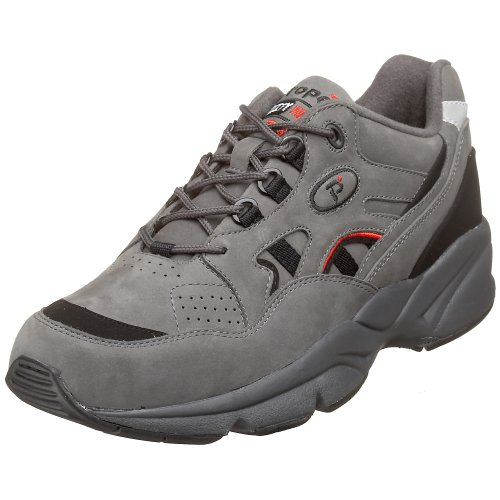 Propet Men's Stability Walker Sneaker, Grey/Blk NB, 7.5 3E US (Blk Mens Footwear)