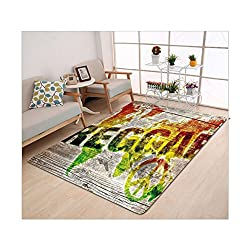Kisscase Custom carpet Rasta World Map on Plaques with Reggae Lettering and Peace Symbol Light Brown Green Yellow and Orange