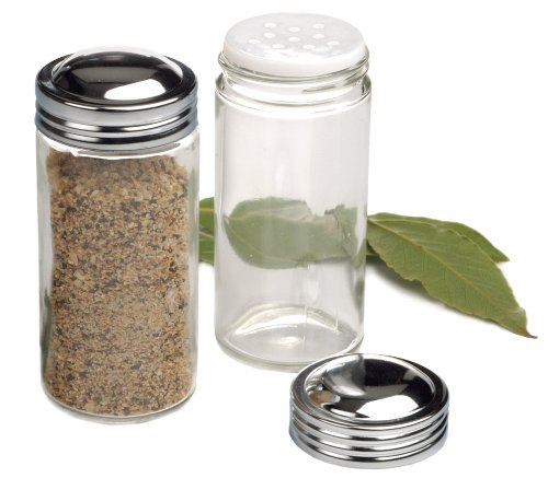 RSVP Clear Glass Spice Jar, Set of 6 (Replacement Spice Jars)