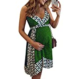 Yeshire Womens Summer Spaghetti Strap Printed Sleeveless Maternity Loose Sexy Mini Dresses with Belt Large Green