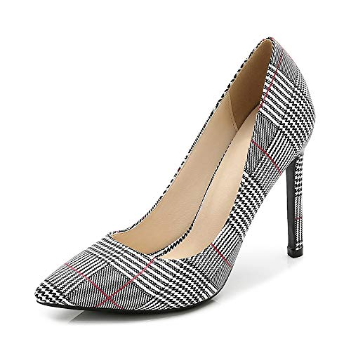 OCHENTA Women's Pointed Toe Stilettos High Heel Plaid Dress Pumps Black Tag 42 - US B(M) 9 (Womens High Plaid Heel)