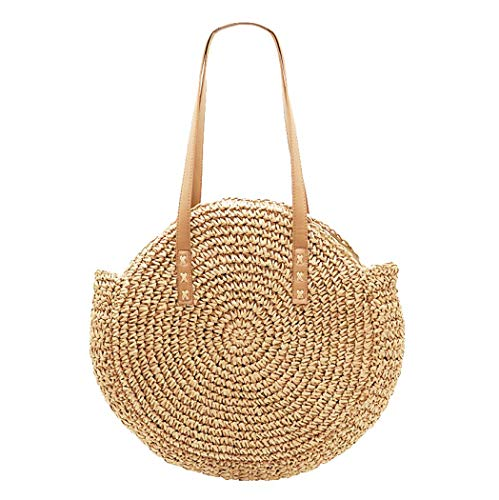 Large Straw Bag, Women's Round Straw Bag Handbags Large Summer Beach Tote Bag Woven Handle Shoulder Bag (Brown)