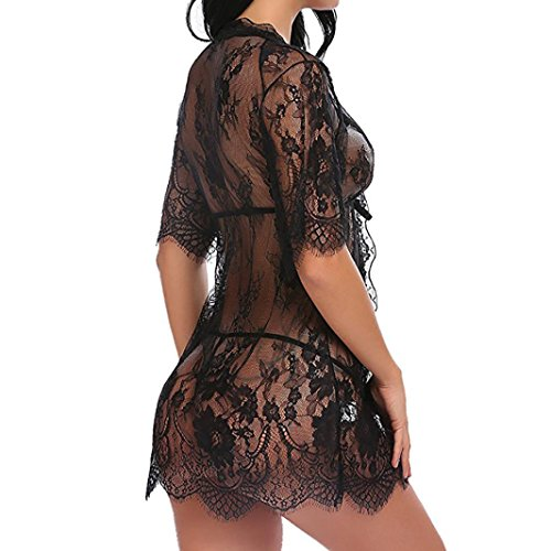 Robe Sexy Piece Black Sleepwear Nightdress Lingerie Three Size Lingerie for Plus Kimono Women Qiamay Lace Set Sheer vdf6aqnv