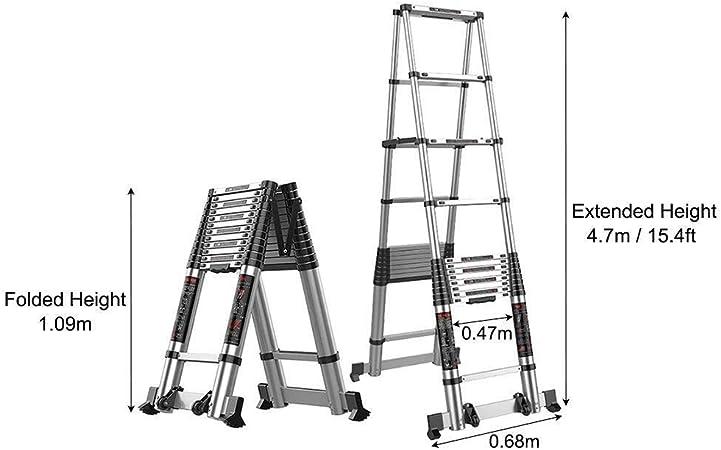 ZKORN Escalera telescópica, Escalera telescópica con Marco en A con Barra estabilizadora Escalera de extensión telescópica Plegable de Aluminio Multiusos para Bricolaje (Capacidad de Car: Amazon.es: Hogar