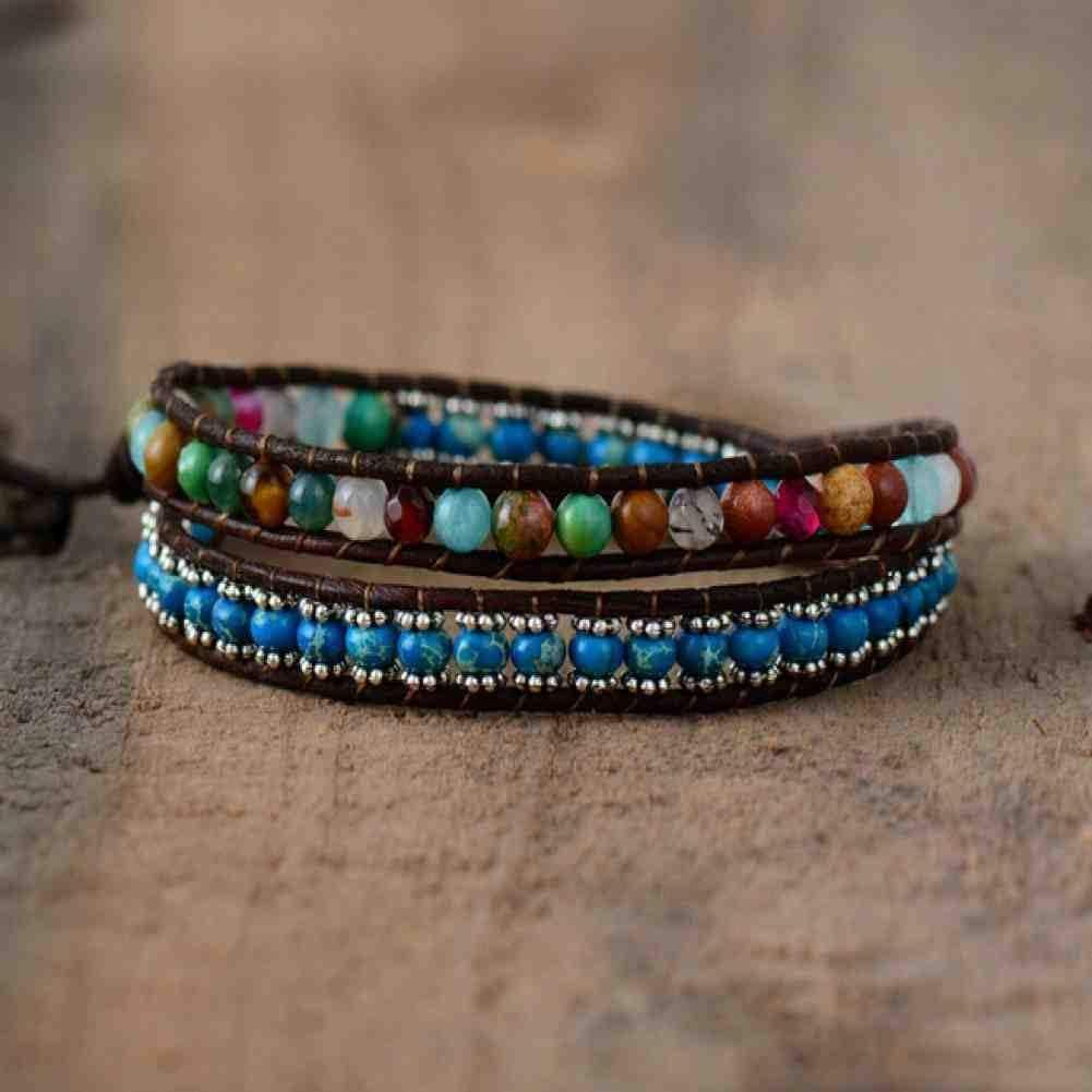 JYHW Pulseras de Cuero Piedras Naturales Coloridas Pulseras envueltas de 2 hebras Pulsera de Cuentas Tejida con Cuentas Vintage