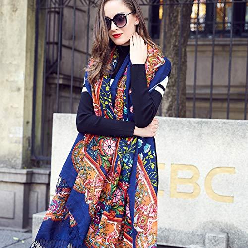 DANA XU 100% Pure Wool Women's Large Traditional Cultural Wear Pashmina Scarf (Navy Blue) by DANA XU (Image #4)