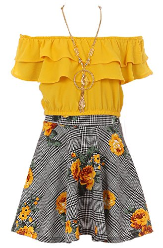 Big Girls' Off Shoulder Tops Skirt Necklace 3 Pieces Party Summer Clothing Set Yellow 8 (J21KS30S) by Dreamer P