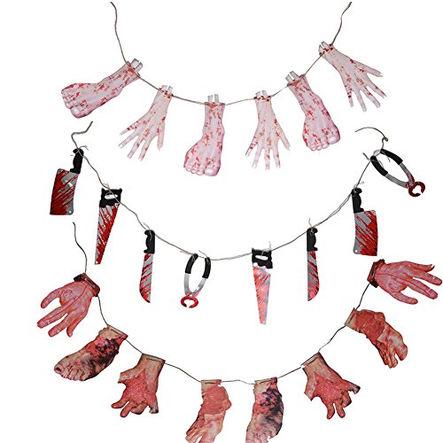 (CHICHIC Halloween Banner Bunting, Broken Hands & Broken Foots & Bloody Weapons Knives, Party Decorations, Halloween Props, Best Halloween Party Favors Decoration, Set of)