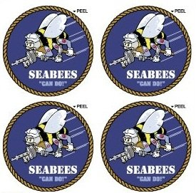 SeaBees US Navy Construction Battalion Seal Insignia - SET of 4 - Can Do - Window Bumper Laptop Stickers by StickyChimp