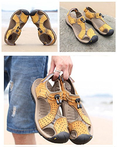 Adjustable Beach Sandals for 1light Fisherman Brown Roman Shoes Toe Outdoor Breathable Men's Walking Athletic Hiking LINNUO Shoes Summer Wxposed w1YqXx4